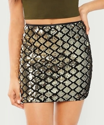 Picture of Sequin Textured Bodycon Skirt