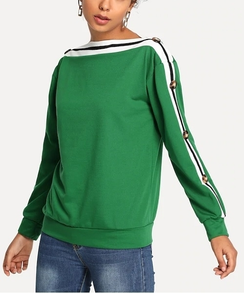 Picture of Striped Button Detail Sweatshirt
