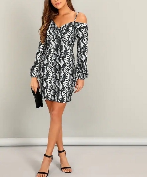 Picture of Asymmetrical Neck Lantern Sleeve Snakeskin Bodycon Dress