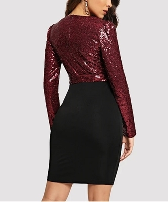 Picture of Sequin Bodice Two Tone Wrap Dress