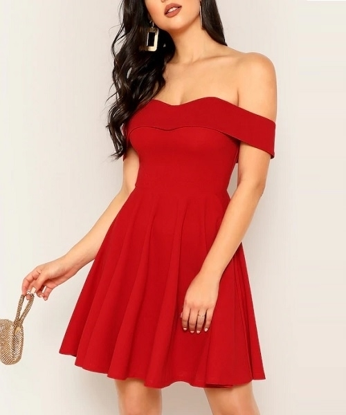 e4ed31803 Picture of Foldover Front Off Shoulder Fit & Flare Dress