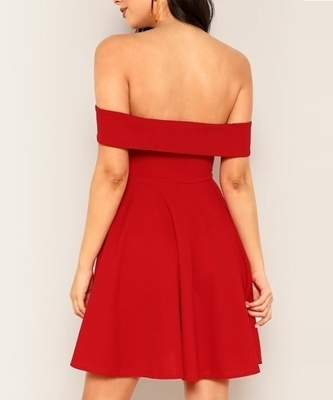 Picture of Foldover Front Off Shoulder Fit & Flare Dress
