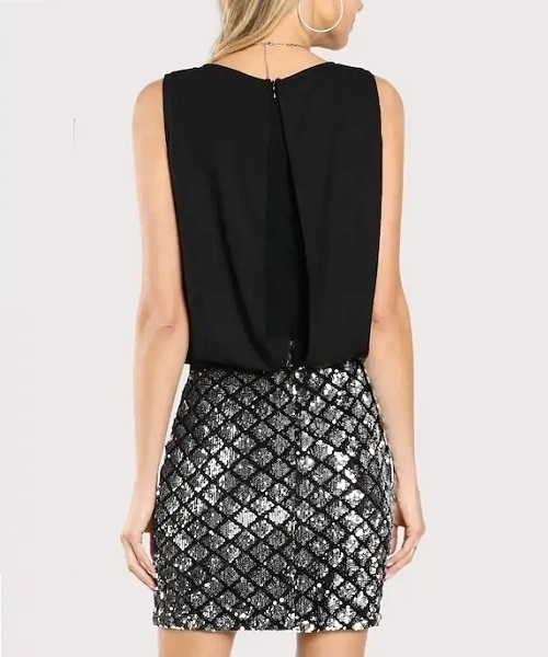 Picture of Cut-and-sew Contrast Sequins Split Back Dress