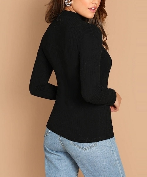 Picture of Ribbed Knit V-Cut Neck Tee