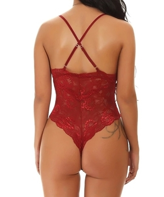 Picture of Criss Cross Floral Lace Teddy