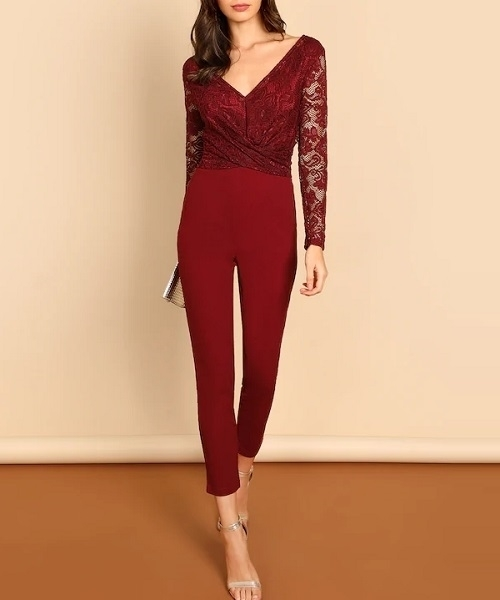 Picture of Twist Front V-back Lace Bodice Fitted Jumpsuit