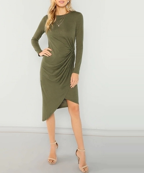 Picture of Draped Asymmetric Pencil Dress