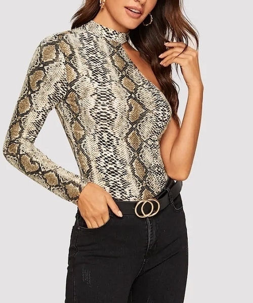 Picture of One Shoulder Choker Snakeskin Fitted Tee