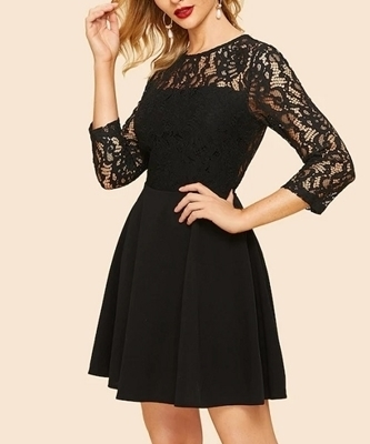 Picture of Lace Detail Skater Cocktail Dress