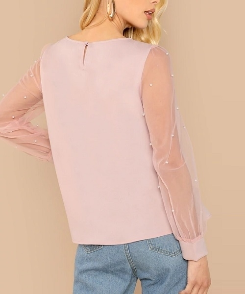 Picture of Pearl Beaded Mesh Sleeve Top