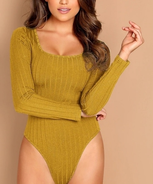Picture of Scoop Neck Rib-knit Bodysuit