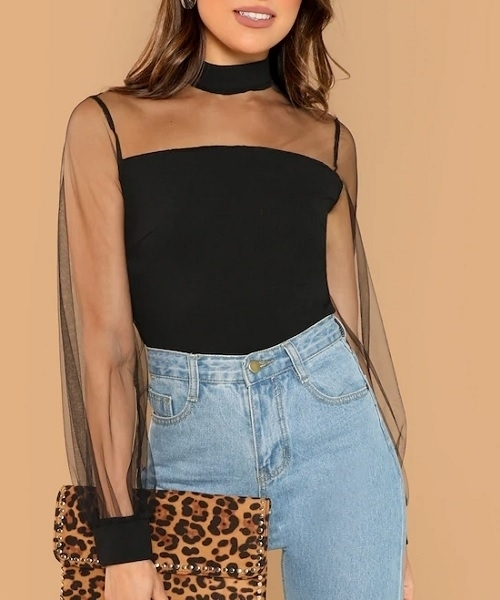 Picture of Sheer Mesh Yoke Blouse