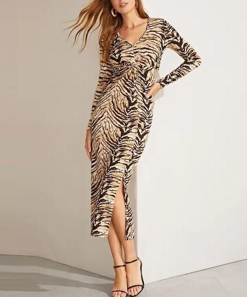 Picture of Animal Print Form Fitting Slit Hem Women Dress