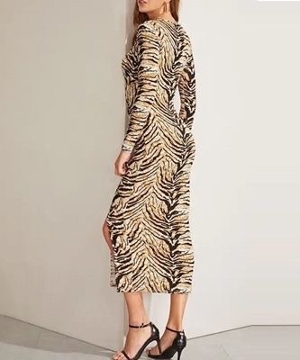 Picture of Form Fitting Slit Hem Tiger Print Dress
