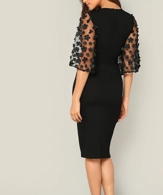 Picture of Flower Applique Mesh Sleeve Belted Pencil Cocktail Dress