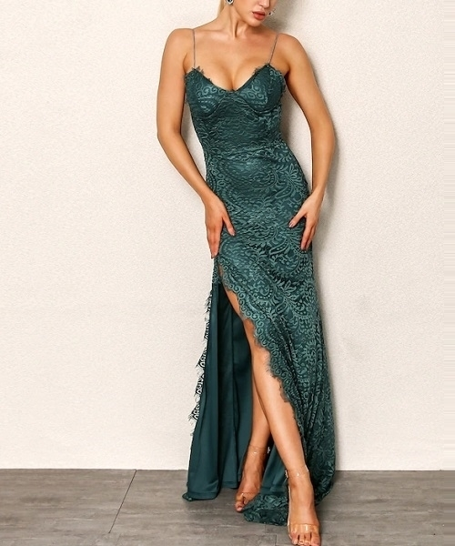 Picture of High Split Front Lace Cami Occasion Dress - Green