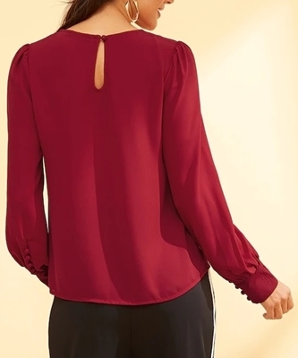 Picture of Button Detail Pleated Solid Top