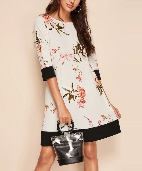 Picture of Botanical Print Two Tone Dress