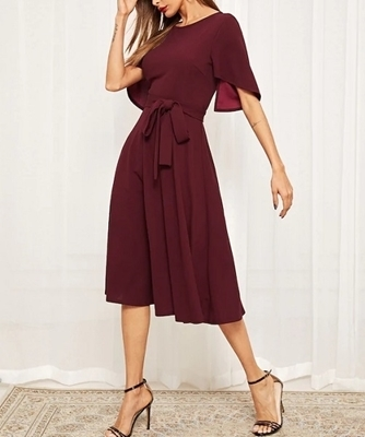 Picture of Asymmetrical Flounce Sleeve Dresses With Belt