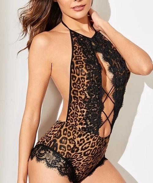 Picture of Leopard Contrast Lace Criss Cross Teddy