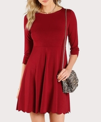 Picture of Scallop Trim Solid Flared Dress