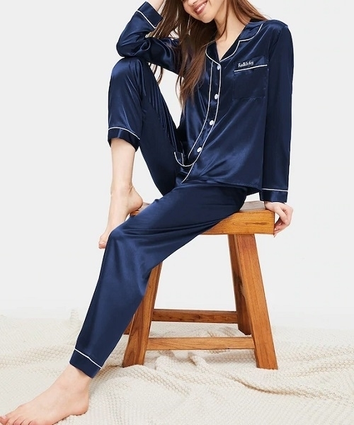 Picture of Contrast Binding Button-Up Satin Feel Pajama Set