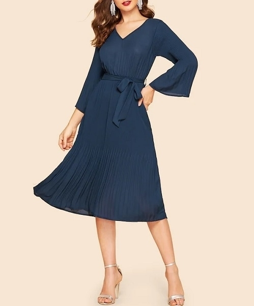 Picture of Bell Sleeve Pleated Flowy Dress With Belt