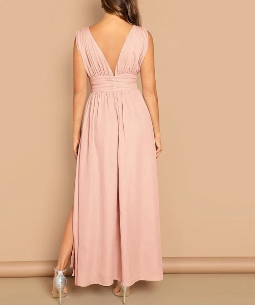 Picture of Bright Plunging Neck Wide Waist Split Hem Dress