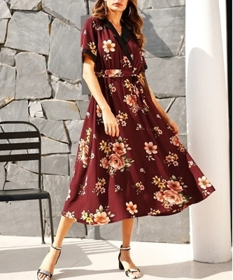 Picture of Floral Print Contrast Notched Collar Belted Dress