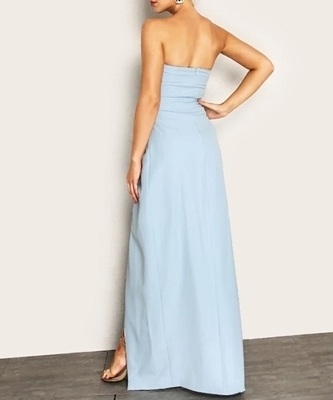 Picture of Knot Waist Wrap Split Front Strapless Dress