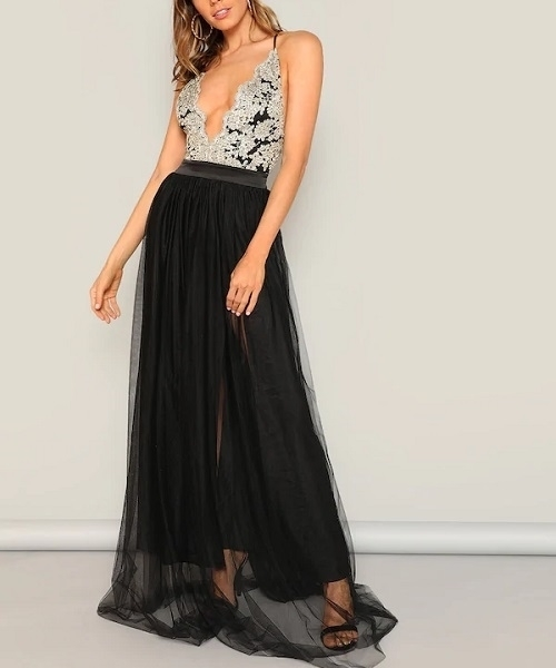 Picture of Crisscross Mixed Media Flow Evening Maxi Long Dress