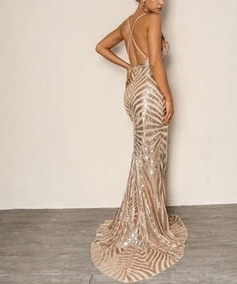 Picture of Crisscross Open Back Fishtail Metallic Sequin Evening Long Dress