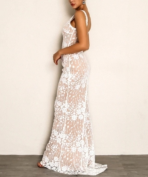 Picture of Plunging Neck Embroidered Mesh Overlay Evening Dress