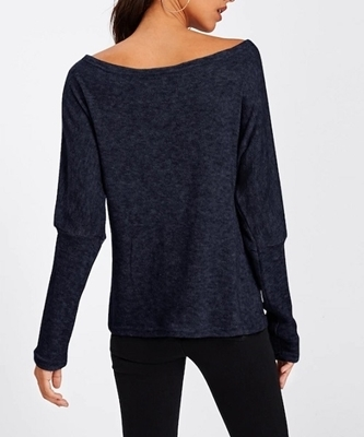 Picture of Asymmetric Shoulder Batwing Sleeve Sweater
