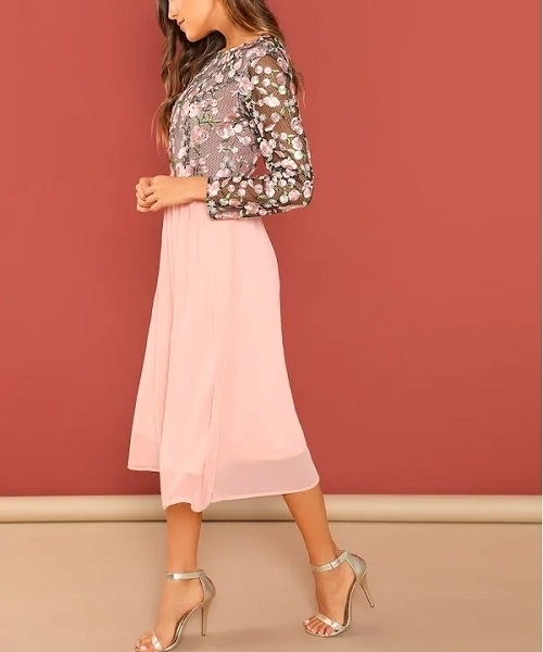 Picture of Bright Flower Embroidered Mesh Bodice Dress
