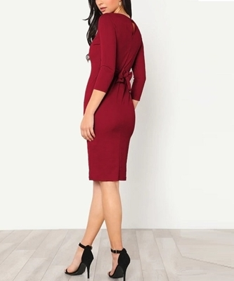 Picture of Button Keyhole Back Self Tie Pencil Dress