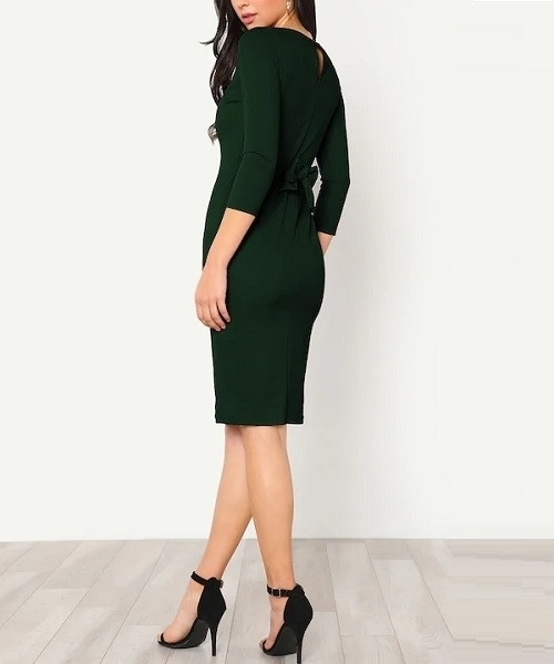 Picture of Button Keyhole Back Self Tie Pencil Dress -Green