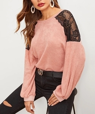 Picture of Contrast Mesh Drop Shoulder Sweater