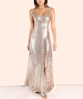 Picture of Backless Rose Gold Sequin Cami Maxi Evening Dress