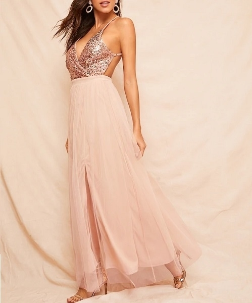 Picture of Sequin Bodice Crisscross Backless Mesh Evening Dress