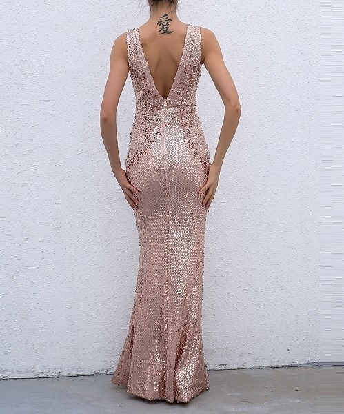 Picture of Rose Gold Sequin Long Mermaid Evening Dresses