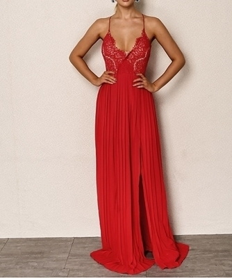 Picture of Applique Floral Lace M-Slit Front Cami Evening Dress