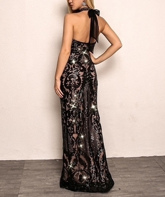 Picture of Cold Shoulder Halter sequin Evening Long dress