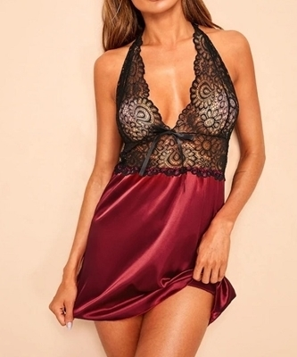 Picture of Contrast Lace Satin Feel Backless Babydoll