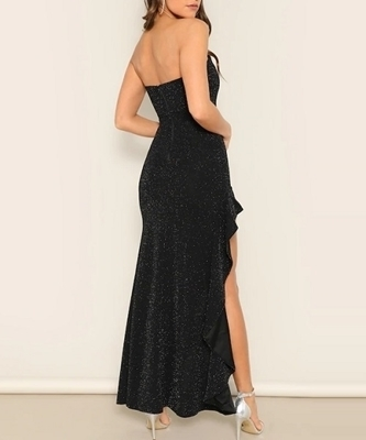 Picture of Glitter Asymmetrical Ruffle Hem Tube Evening Dress