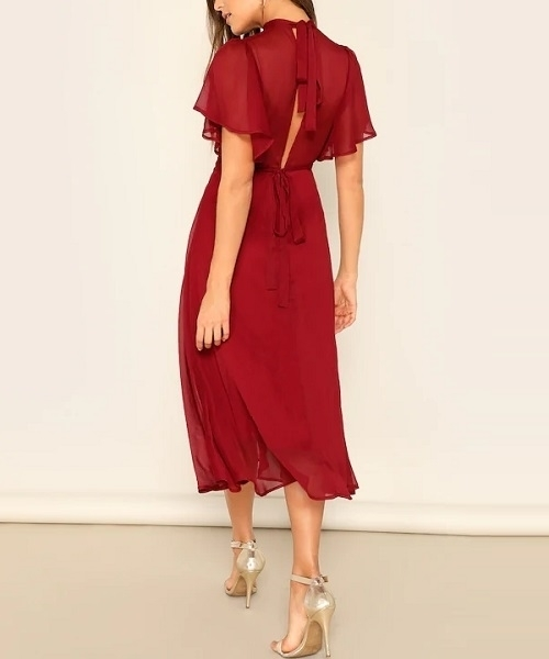 Picture of Mock-neck Knot Back Sheer Panel Dress