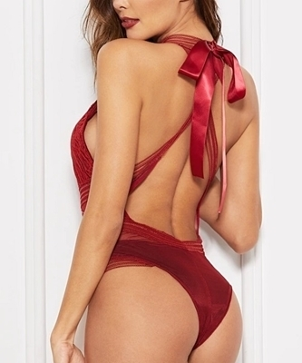 Picture of Backless Contrast Lace Criss Cross Teddy