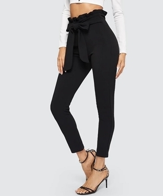 Picture of Paperbag Waist Skinny Pants With Belt
