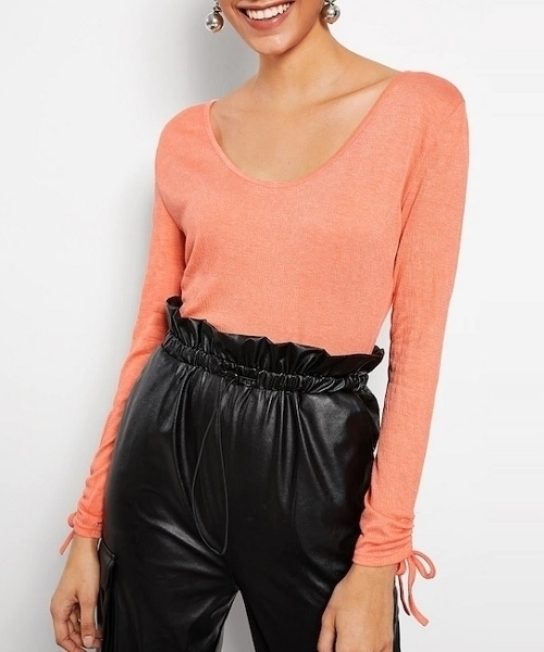 Picture of Scoop Neck Drawstring Cuff Top