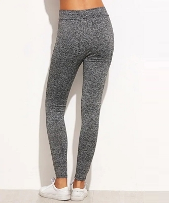 Picture of Marbled Knit Mesh Insert Ripped Leggings